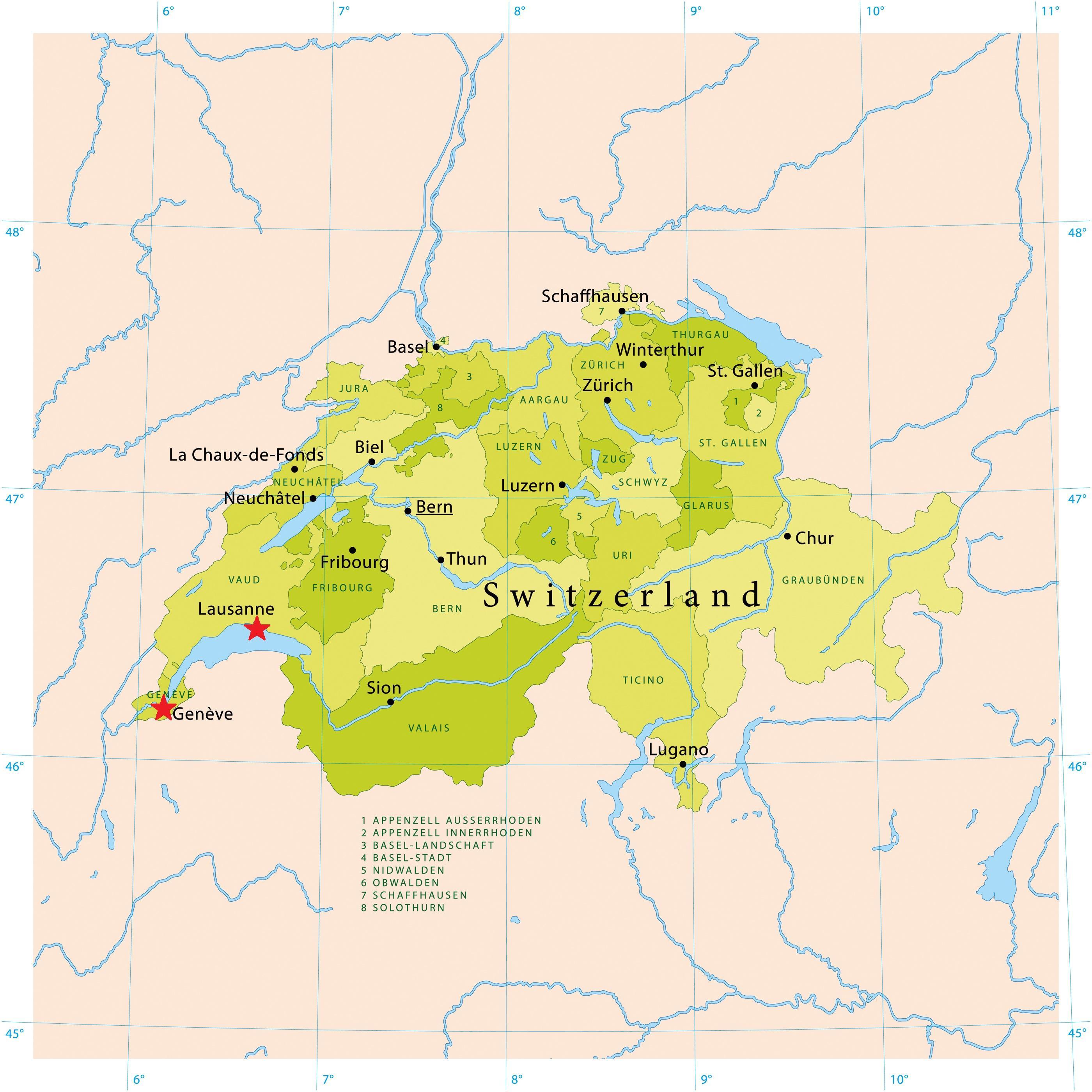 Ginevra Svizzera Cartina