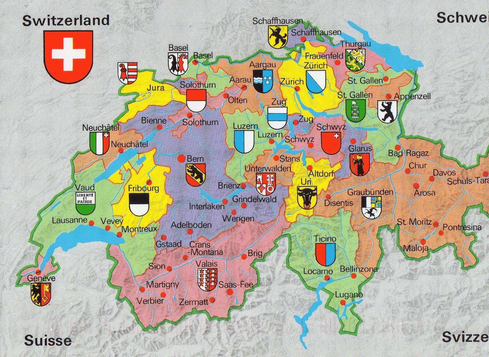 Cartina Della Svizzera.In Svizzera La Mappa Attrazioni Turistiche Mappa Della