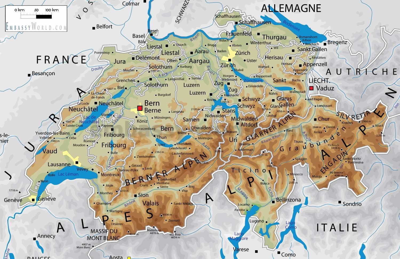 La Svizzera Cartina.Mappa Fisica Della Svizzera Svizzera Geografia Mappa Europa Occidentale Europa