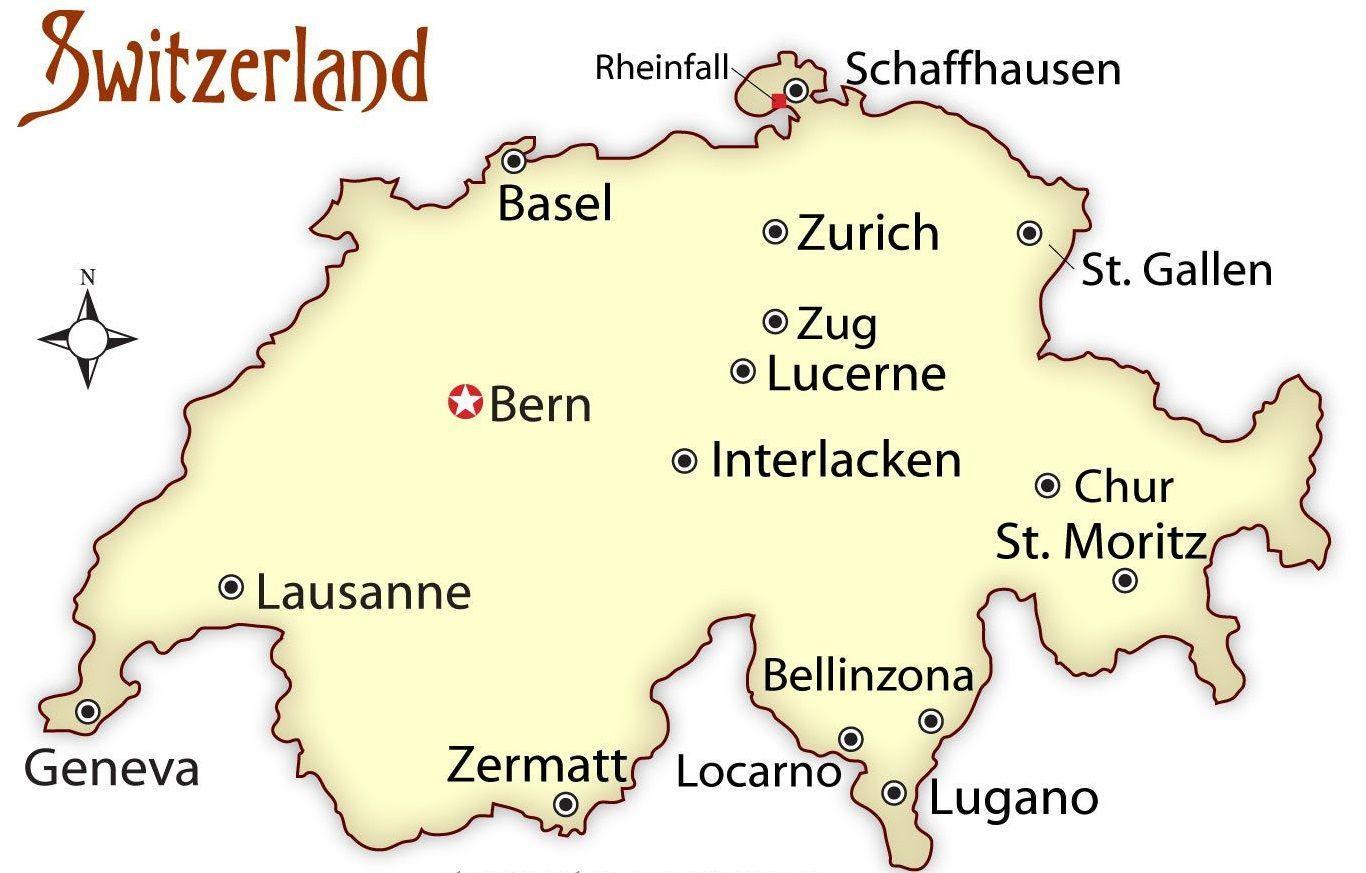 Cartina Svizzera Lugano.Svizzera Capitale Mappa Cartina Della Svizzera Capitale Europa Occidentale Europa