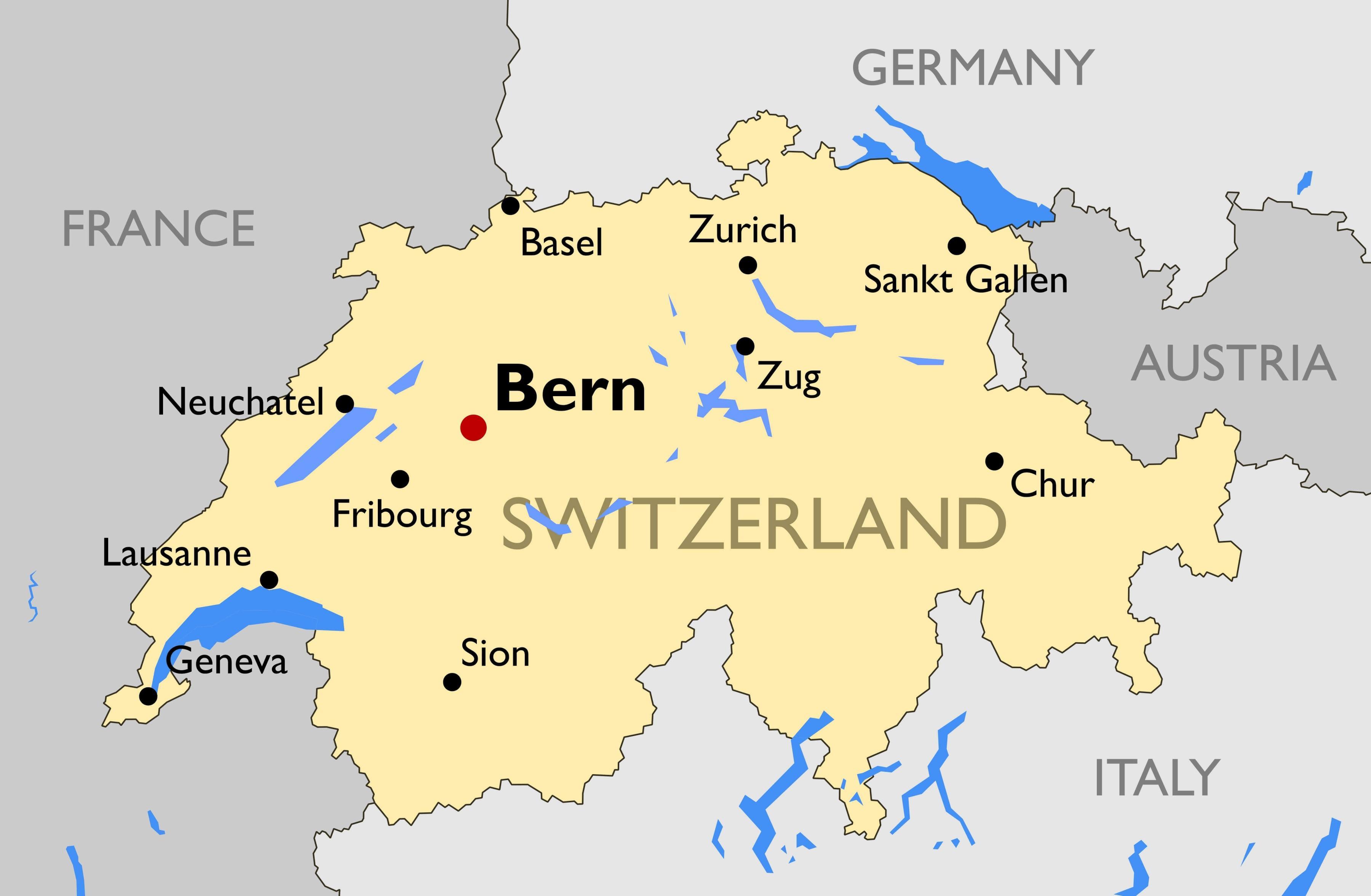 Svizzera Cartina.Svizzera Citta Mappa Cartina Della Svizzera Con Le