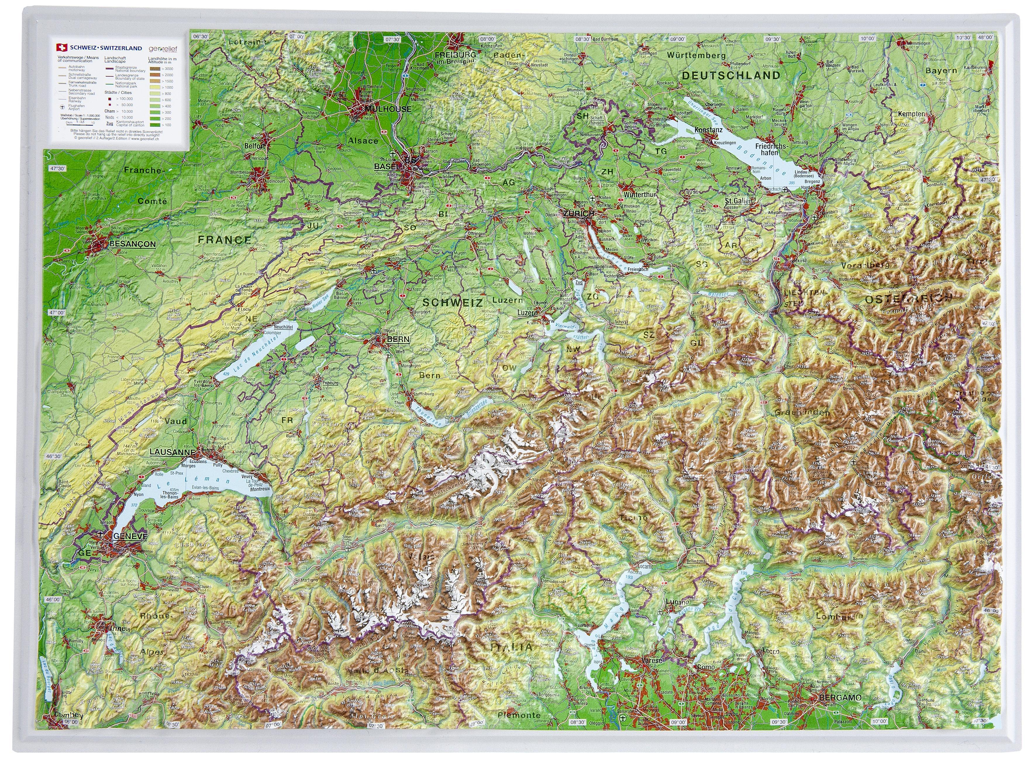 La Svizzera Cartina.Svizzera 3d Mappa Cartina Della Svizzera 3d Europa Occidentale Europa