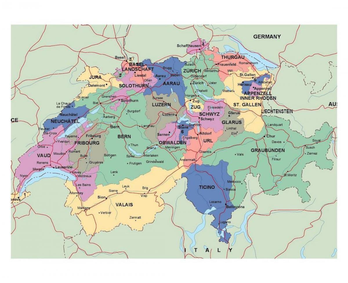 La Cartina Geografica Della Svizzera.Mappa Stradale Di Svizzera Cartina Svizzera Europa Occidentale Europa
