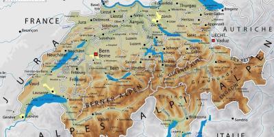 Svizzera Cartina Geografica Politica.Svizzera Citta Mappa Cartina Della Svizzera Con Le Principali Citta Europa Occidentale Europa